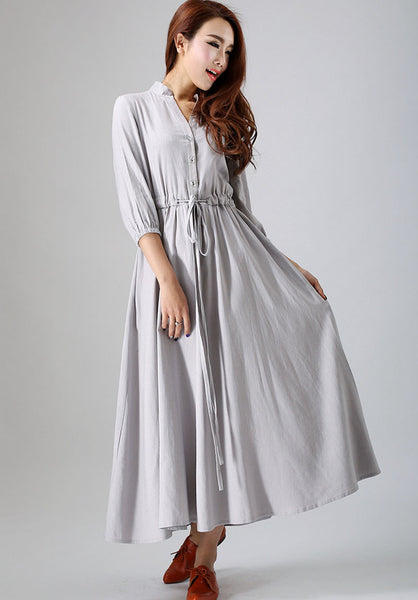 Grey dress women linen dress custom made long dress (785)