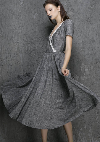 Grey linen midi summer dress with white lace for wedding bridesmaid 1319