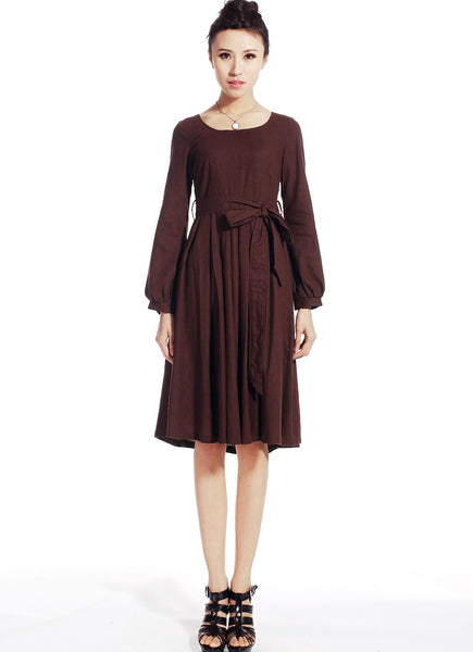 Brown linen midi dress (514)