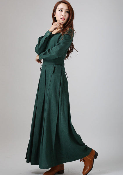 Green linen dress woman maxi dress custom made long sleeve linen dress (788)