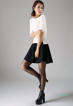 Load image into Gallery viewer, Mini wool skirt black skirt women skirt 1101