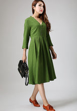 Load image into Gallery viewer, Green linen dress woman knee length dress casual long dress 0891#