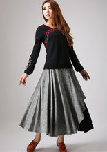 Load image into Gallery viewer, Gray linen skirt woman maxi skirt custom made layered long skirt 0868#