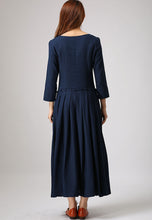Load image into Gallery viewer, Long sleeve button front maxi linen dress 881