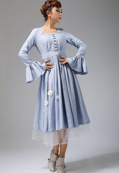 Cute blue linen maxi dress button through long dress (670)