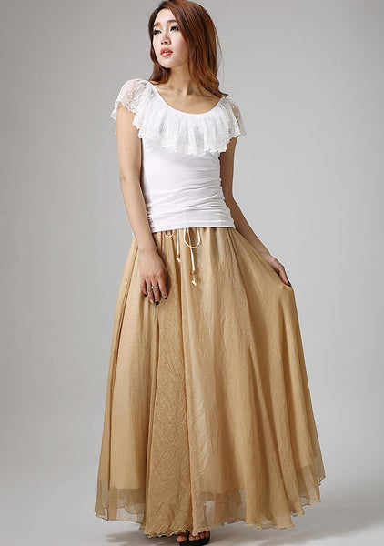 Khaki Chiffon skirt woman summer skirt custom made maxi skirt long skirt with ruffle waist detail (892)