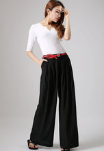 Load image into Gallery viewer, Black wide leg pants