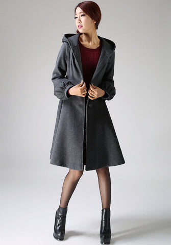 Hooded Swing Coat - Winter Wool Gray Women A-Line Shape Midi Length Coat with Lantern Sleeves (1073)