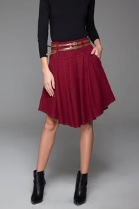 Lovely pleated knee length wool skirt in Red 1427#
