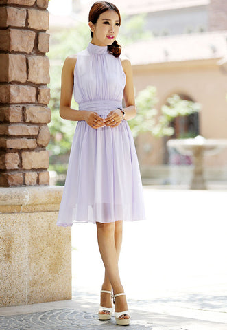 Mini purple dress chiffon dress cute wedding dress 997