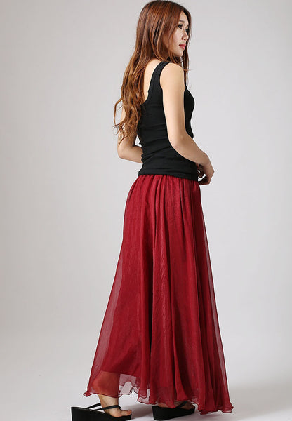 Maxi skirt Chiffon skirt elastic waist long skirt woman Red skirt with ruffle waist detail (862)