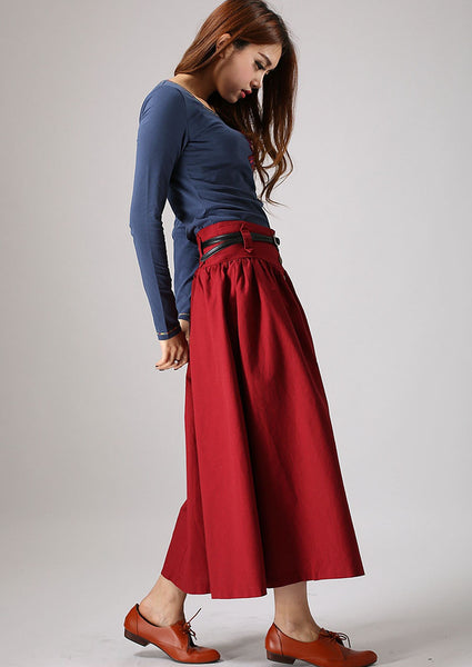 Red skirt women linen skirt maxi skirt elastic waist long skirt 876