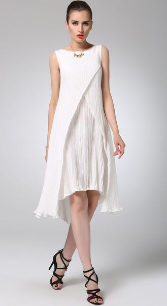 White linen dress mini cute dress (1230)