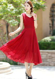 Maxi dress women chiffon long dress in Red wine (1005)