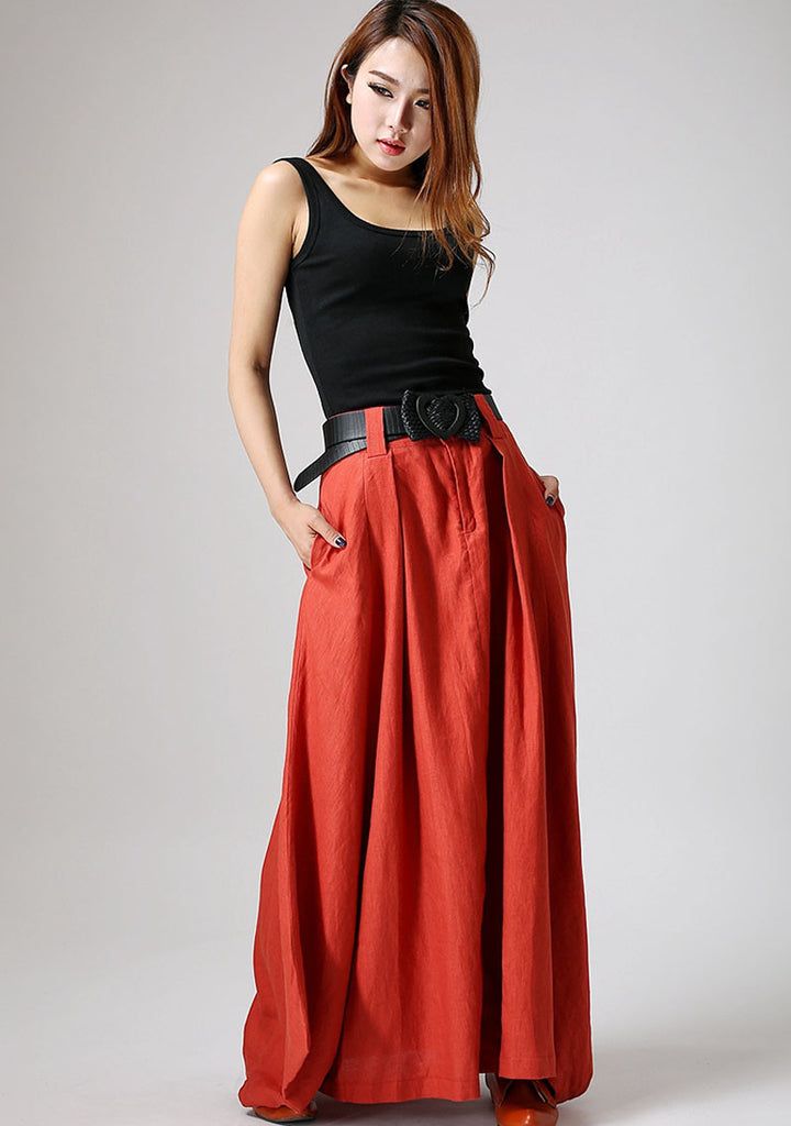 Maxi skirt Orange skirt woman linen skirt casual long skirt custom made (896)