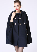 Load image into Gallery viewer, Double breasted wool cape coat with hood 1057#