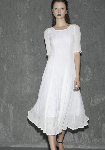 White linen dress maxi dress women dress long prom dress(1307)