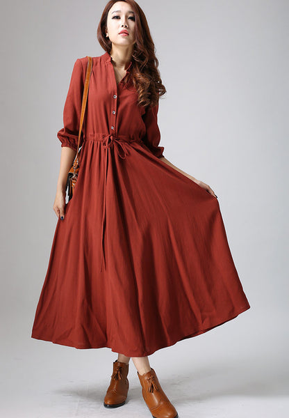 Casual linen dress woman long sleeve dress custom made day dress (804)