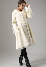 Load image into Gallery viewer, Begin white wool winter warm jacket long sleeve outwear 0725#