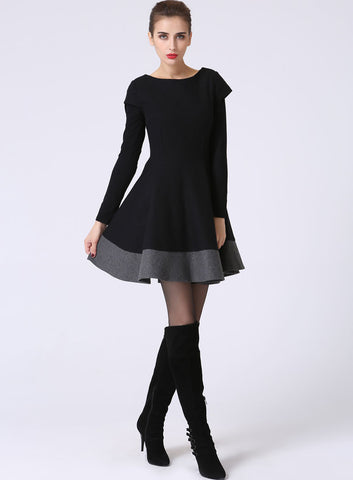 Little Black Dress - LBD - Short Sleeve Dress - Black and Gray - Black Mini Dress - Wool Dress - Color block - Wool Clothes (1069)