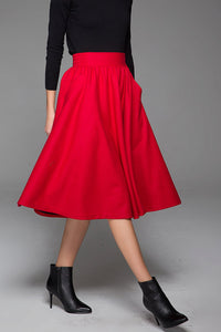 Lovely Elegant Midi Skirt Wool Skirt Winter Skirt With Elastic Waist (1430)