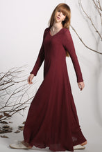 Load image into Gallery viewer, Maxi dress linen dress red long dress women dress (1138)