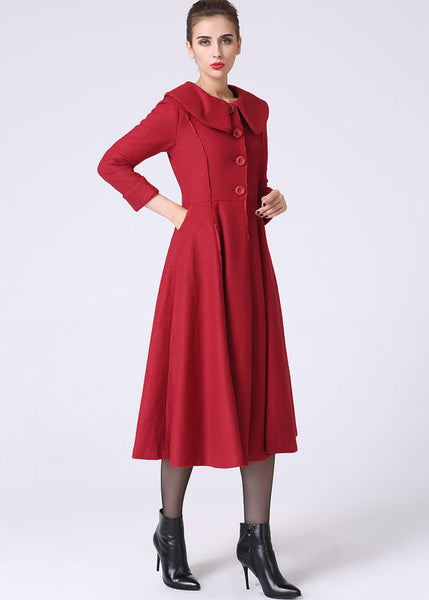 Red cashmere coat winter coat warm women coat (1065)