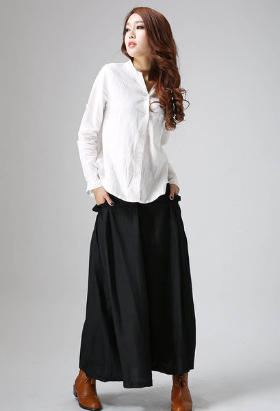 Black skirt woman pleated long skirt custom made maxi skirt (822)