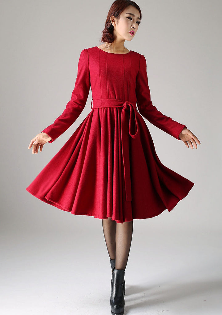 Red midi wool dress women dress 1082
