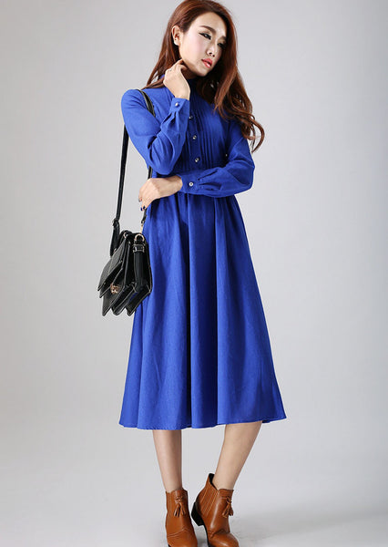 Blue dress woman Linen dress custom made long dress with pleated detail (798)