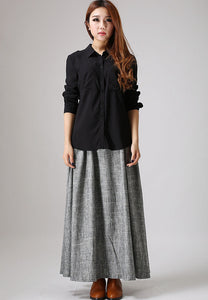 Women's Pleated A line maxi skirt  0886#