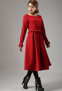 Red wool dress winter dress maxi dress (741)