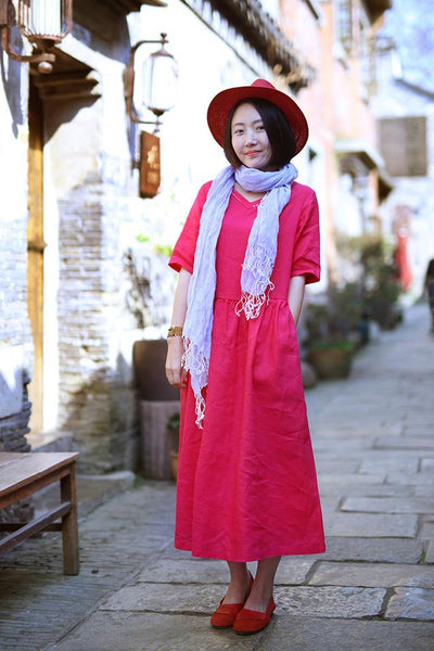 retro loose linen summer dress with mid sleeves and v necks CYM471
