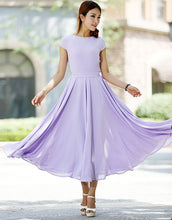 Load image into Gallery viewer, Purple dress Woman Maxi dress chiffon dress custom made bridesmaid dress (1030)
