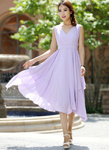 purple bridesmaid dress - women dress summer dresses chiffon dress -custom made (1003)