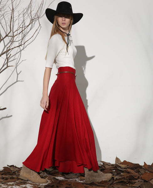 Red skirt maxi skirt linen skirt women skirt 1154