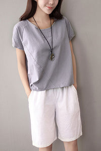 Short sleeve linen top for women J009-05