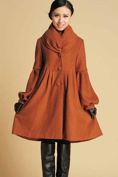 Brown winter warm coat woman wool jacket 0383#