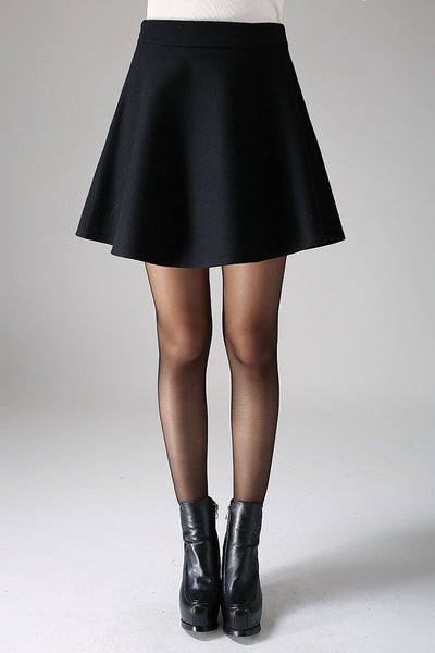 Mini wool skirt black skirt women skirt (1101)