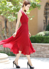 Load image into Gallery viewer, Maxi dress women chiffon long dress in Red wine (1005)