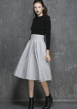 Load image into Gallery viewer, light grey skirt, wool skirt, short skirt, high waisted skirt 1340