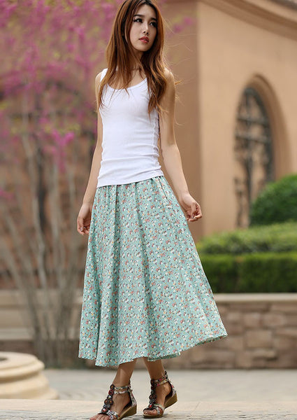 Green floral skirt woman summer skirt custom made print skirt long linen skirt 948