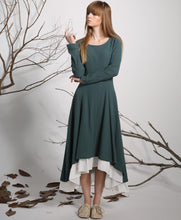 Load image into Gallery viewer, Green Dress-Linen Dress-Casual Dresses-Casual Dress-Woman Dress-Maxi-Long Prom Dress-Maxi Dress-Spring Dress-Woman Linen Party Dress-1134