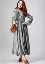 Load image into Gallery viewer, woman's gray dress long linen dress maxi spring dress (790)