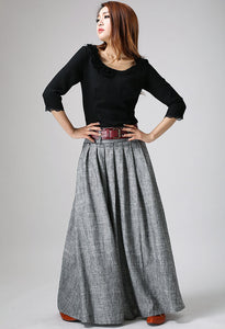 Xiaolizi swing maxi skirt in grey  0911#