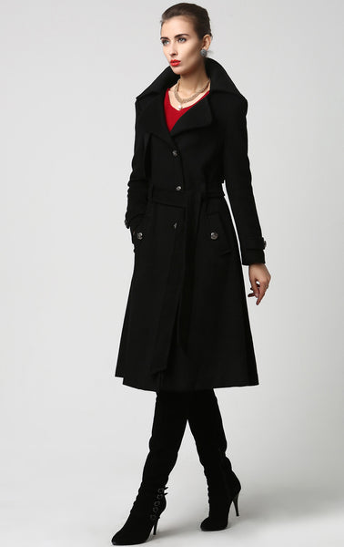 Womens Long Black Wool Coat Trench Style (1122)