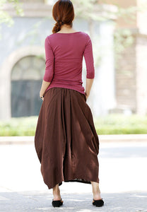 womens linen skirts brown bud skirt long skirt maxi skirt casual skirt (1026)