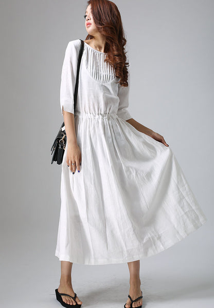 long white dress - Casual dress in white for women custom made long dress with pleated detail (803)