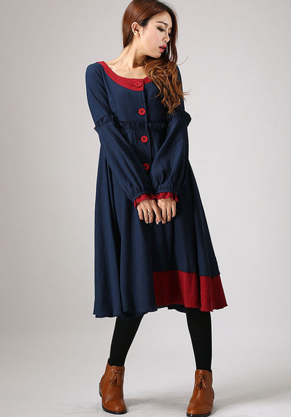 Blue linen long shirt (884)