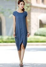 Load image into Gallery viewer, Light blue linen dress (1015)